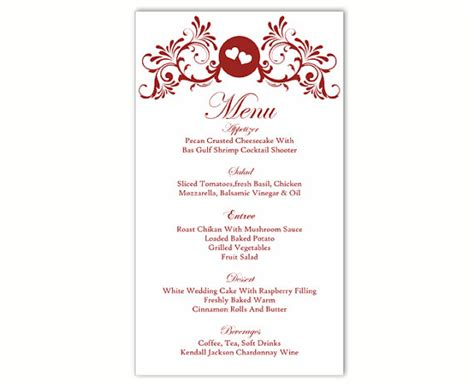 menu card template wedding wedding menu template diy menu card template editable text