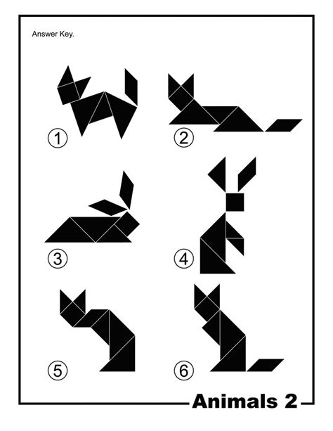 printable tangoes puzzle cards animals silhouette solution tangram card 2 clipart etc