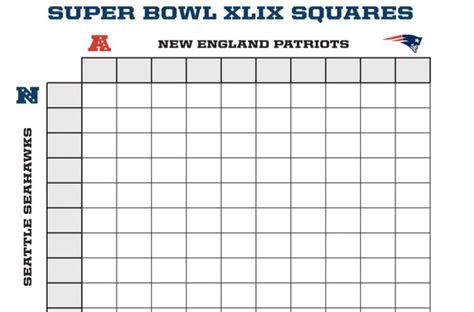 Football Blocks Template by Bowl Pool Sheet 50 Squares Search Results