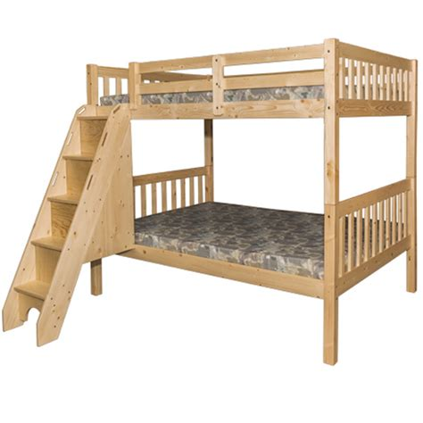Full Over Full Bunk Bed With Stairs Natural Bunk Bed Bunk Bed Staircase