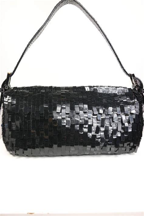 Fendi Sequined Baulotto Grande Handbag by Fendi Classic Black Sequin Baguette Handbag For Sale At