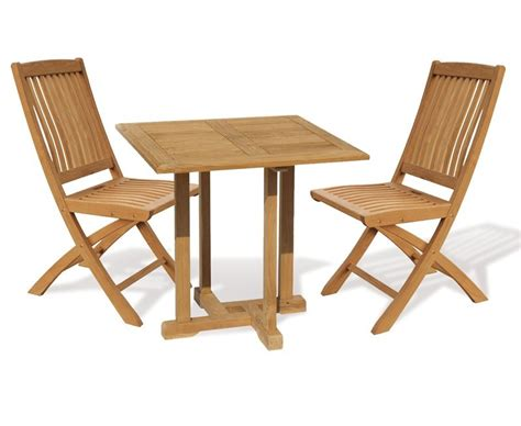 2 Seater Dining Table And Chairs Canfield 2 Seater Teak Square Garden Table And Bali Folding Chairs Set