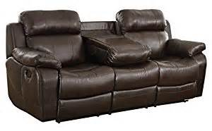 Leather Reclining Loveseat With Center Console Homelegance Marille Reclining Sofa W Center