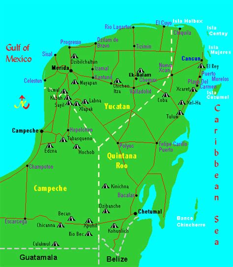map of mexico yucatan region this map of the mayan ruins and archaeological in the yucatan peninsula shows the