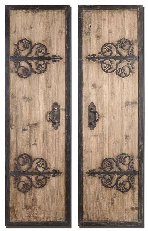wrought iron 71 quot rustic wood door panels wall