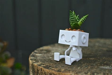 cute planters 3dprinted cute robot succulent planter