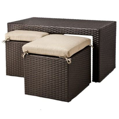 Atlantis Wicker Patio Accent Table Lexus 3 Pc Coffee Table With Tuck Seating Set From