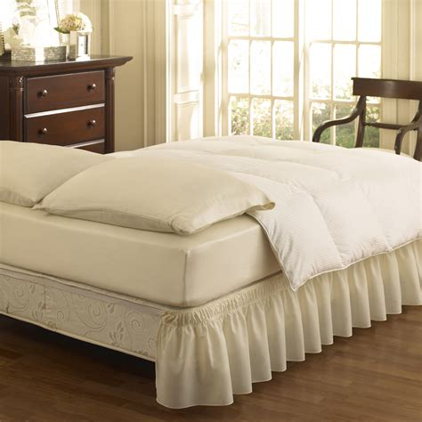 easy fit bed skirt shop easy fit ivory queen king 15 in bed skirt at lowes com