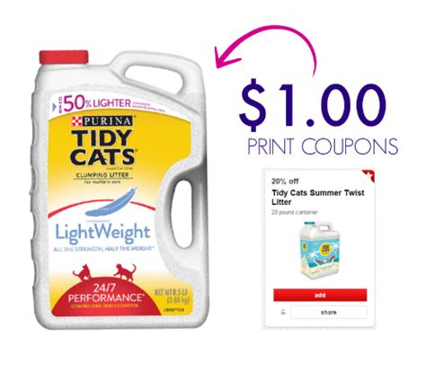 printable coupons for cat food and litter tidy cats printable coupons 1 for 20 lb cat litter