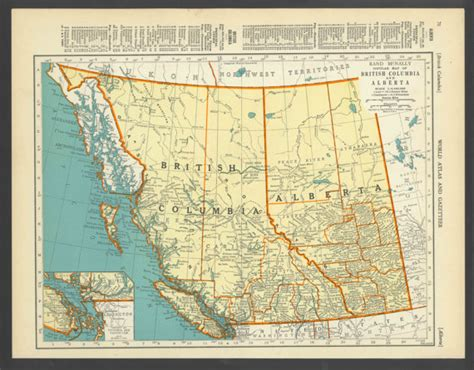 map of bc and alberta canada vintage map of columbia alberta canada from 1937