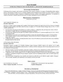 Supervisor Sample Resume Example Inventory Supervisor Resume Free Sample