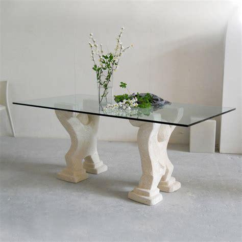 tavolo in pietra tavolo in pietra di vicenza e cristallo medusa scolpito a