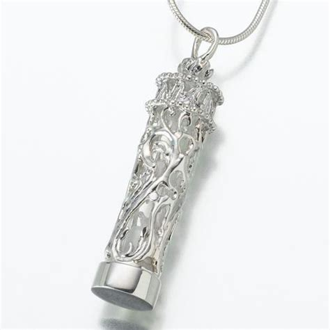 cremation jewelry glass cylinder silver chromate cremation jewelry engravable