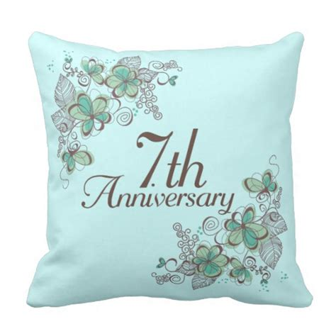 7th anniversary gift for 7th anniversary gift throw pillow zazzle