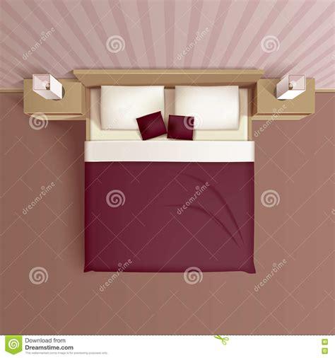 Bedroom Side View bedroom interior top view realistic image stock vector