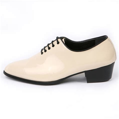 ivory dress shoes mens glossy ivory plain toe lace up high heels oxfords