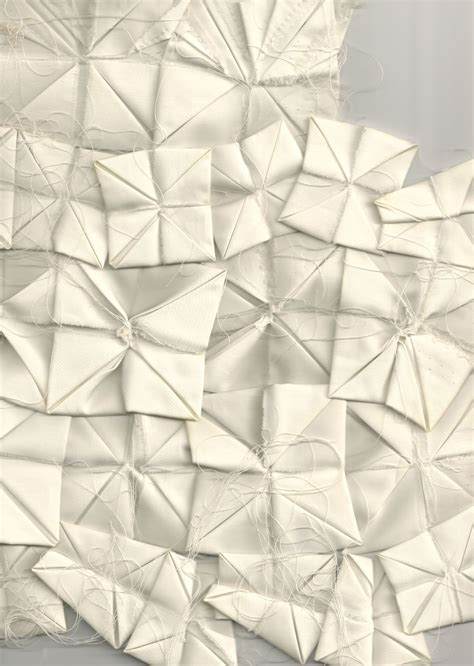 Fabric Origami - fabric origami with folded squares for the front panel of