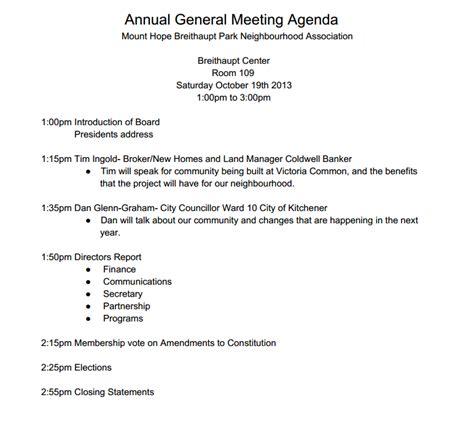 agenda for agm template the for mt breithaupt park neighbourhood