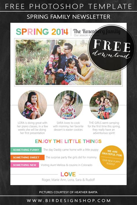 spring family newsletter free photoshop template birdesign