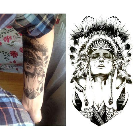 tattoo flash stickers indian warrior temporary tattoo body art flash tattoo