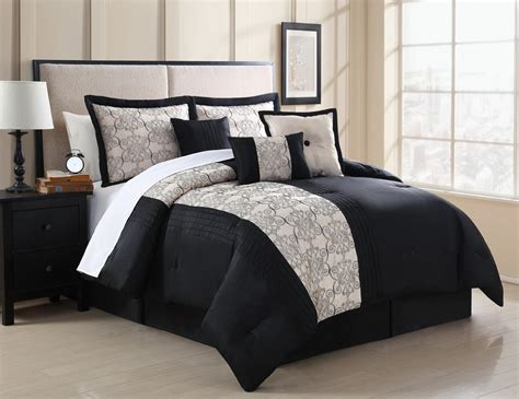 embroidered comforter set 7 piece zaire black and ivory embroidered comforter set