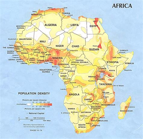 of africa map population density africa