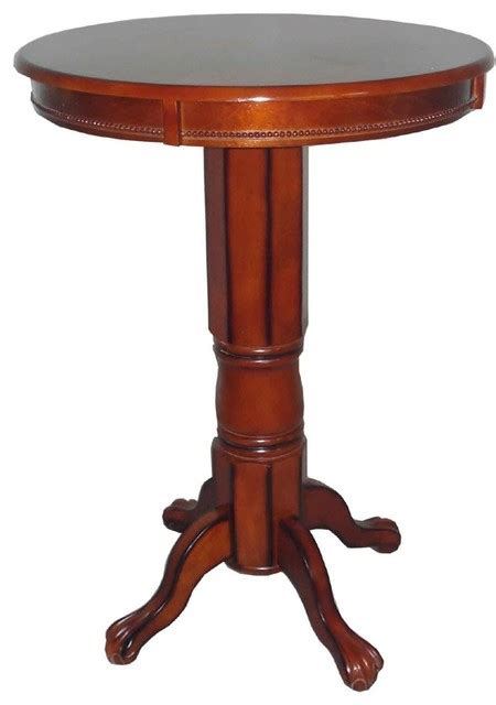 Pedestal Bistro Table Solid Hardwood Pedestal Pub Table With Claw Finish Indoor Pub And Bistro Tables