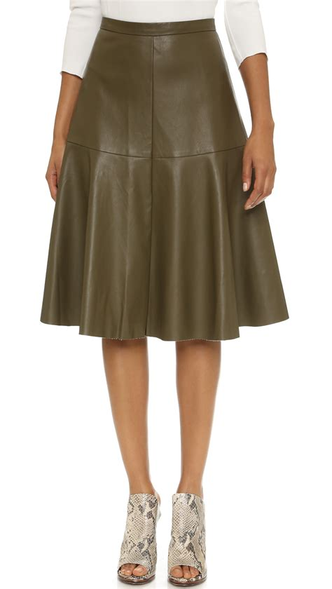 joa a line faux leather skirt olive in green olive