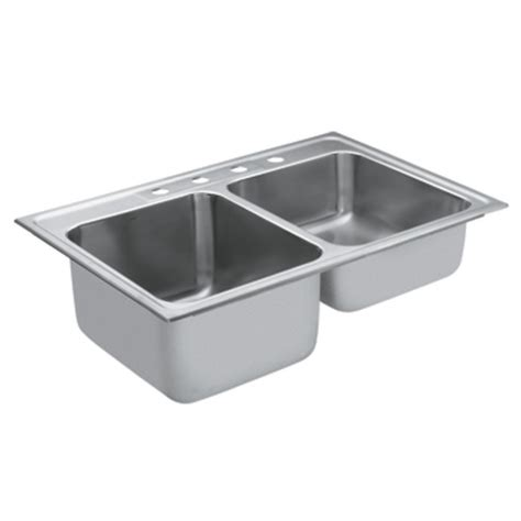 kitchen double sink shop moen commercial 38 in x 23 8 in stainless steel