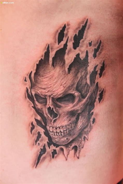3d skull tattoos designs most amazing 3d ripped skin tattoos best 3d torn skin