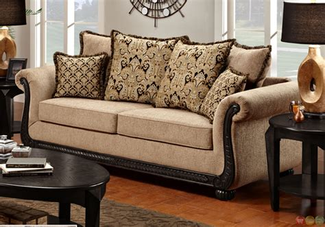 sofa with wood trim chenille sofa and loveseat taupe love seat shop