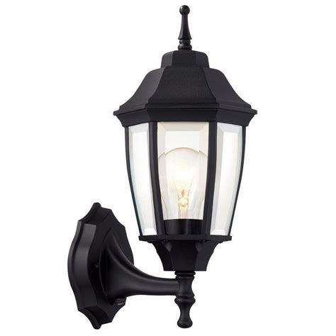 Hton Bay 1 Light Black Dusk To Dawn Outdoor Wall Patio Lantern Lights