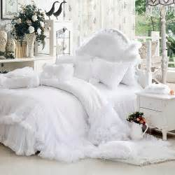 King Size Bedding With Ruffles Luxury White Falbala Ruffle Lace Bedding Set