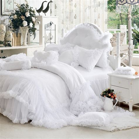 Luxury White Falbala Ruffle Lace Bedding Set Twin Queen