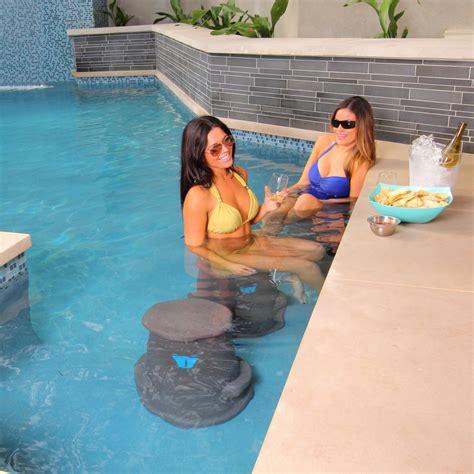 Fluffy Floating Stool by Pool Seat Liquidseat Brown Granite