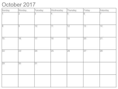 Calendar Template Word October 2017 October 2017 Printable Calendar Template Holidays Excel