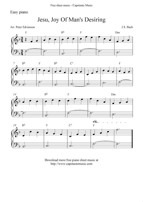 printable piano sheet music no download free free easy piano sheet music solo jesu joy of man s desiring
