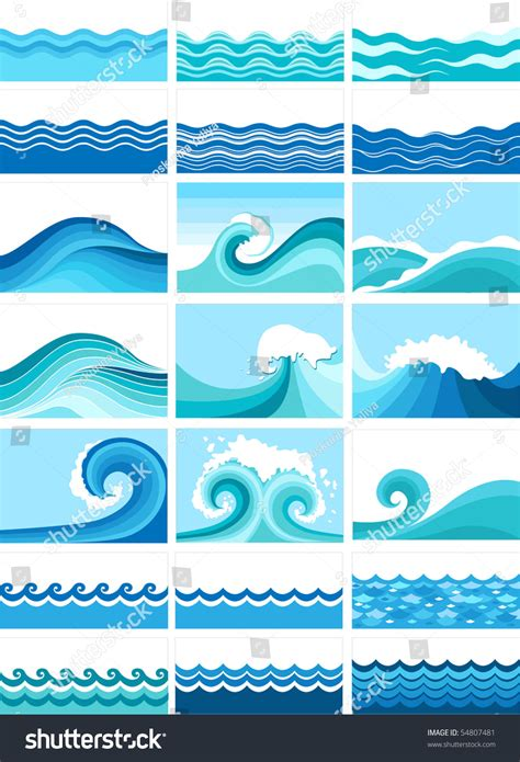 marine stock vector lowe waves collection of marine waves stylized design stock vector