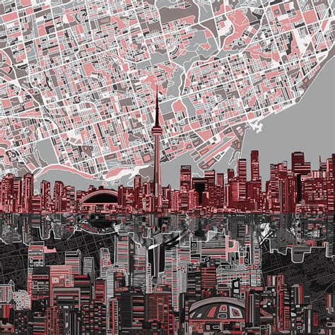 Toronto Artwork by Toronto Skyline Abstract 5 Painting By Bekim Art
