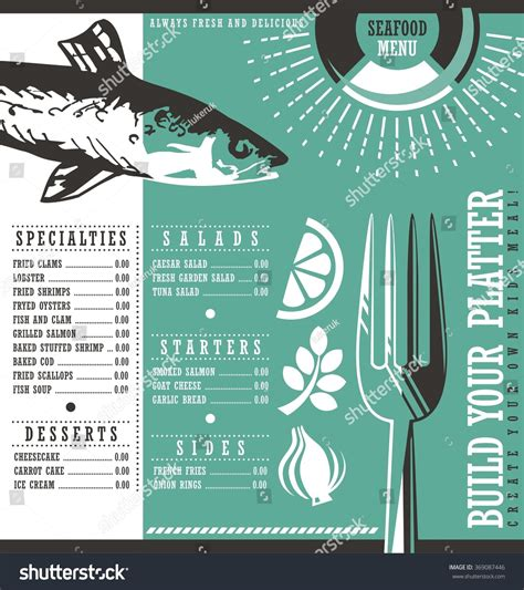 menu card design layout seafood restaurant menu design abstract menu stock vector
