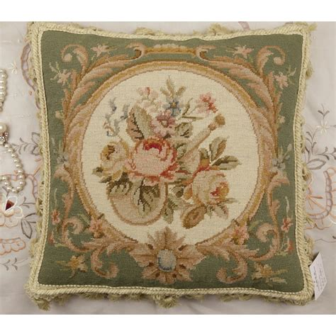 chic shabby pale green beige floral handmade needlepoint