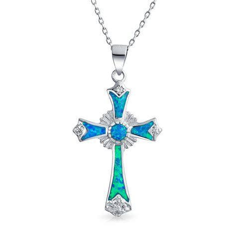 cross pendants for jewelry 925 silver synthetic opal cz cross pendant necklace 18in