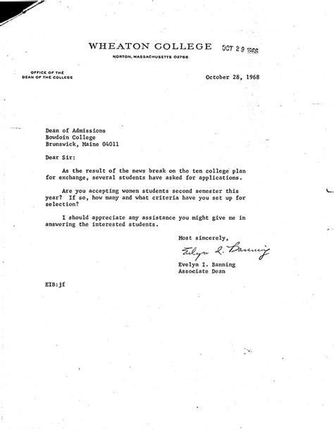 Bowdoin College Acceptance Letter Letter From Associate Dean At Wheaton Banning To Dean Of Admissions At Bowdoin Richard