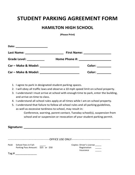 Student Parking Agreement Form Free Download Car Parking Agreement Template