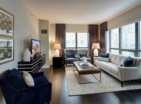 Chicago Apartments Downtown Luxury Model Living Room At Amli River A Luxury Apartment