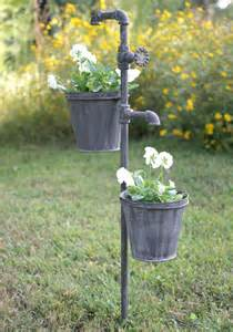 Metal Outdoor Planters Faucet Metal Garden Stake With Two Planters Outdoor