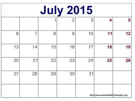 Calendar Template July 2015 Image Gallery July 2015 Holidays