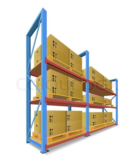 racks pallets and boxes in stock are shown in the picture