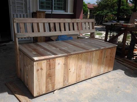 outdoor storage bench diy pallet outdoor bench with storage box 99 pallets