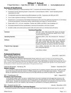 Cobol Developer Sle Resume by Bill Schuck Mainframe Programmer 2013 Resume